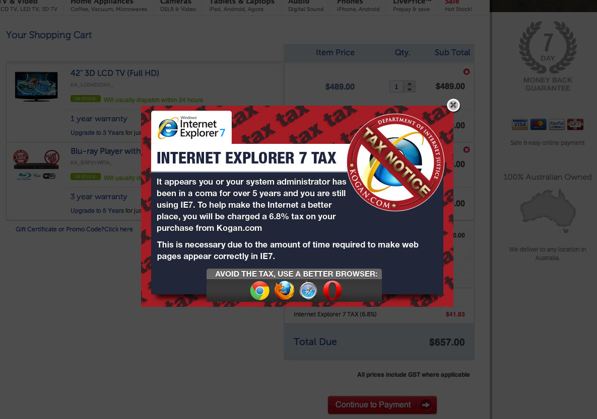 Should Websites Tax Internet Explorer 7 Users?